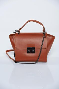 Brown casual natural leather bag with a compartment with internal pockets
