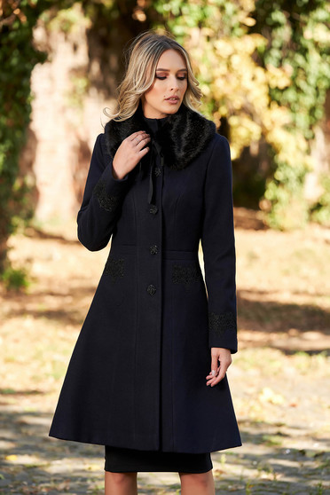 LaDonna best impulse elegant embroidered from wool with inside lining darkblue coat