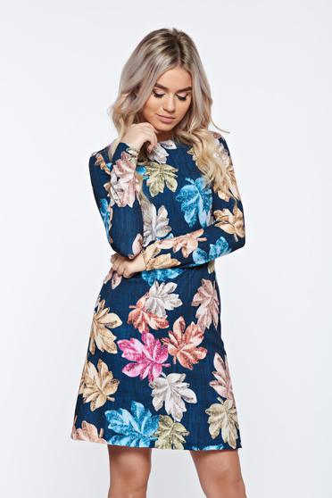 Fofy daily a-line darkblue dress with print details with pockets