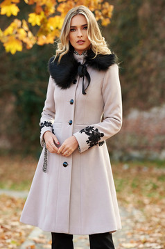 LaDonna best impulse elegant embroidered from wool with inside lining grey coat