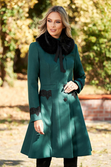 LaDonna best impulse elegant embroidered from wool with inside lining green coat