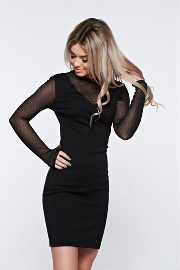 Top Secret black dress occasional long sleeve with a cleavage