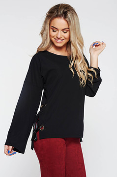 PrettyGirl black casual asymmetrical women`s blouse with ribbon fastening