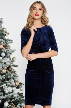 Artista darkblue occasional dress from velvet with small beads embellished details