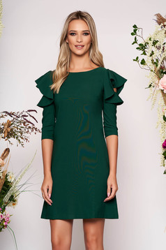 Darkgreen daily elegant a-line dress slightly elastic fabric with ruffled sleeves