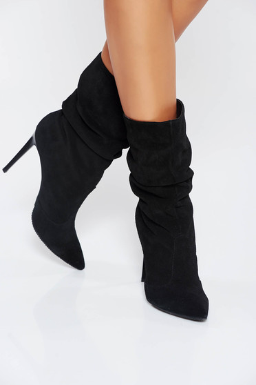Black natural leather ankle boots with high heels