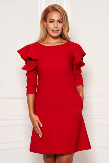 Red daily elegant a-line dress slightly elastic fabric with ruffled sleeves