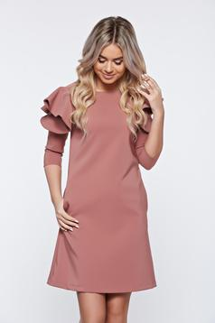 Brown daily elegant a-line dress slightly elastic fabric with ruffled sleeves