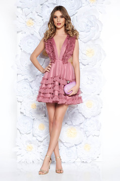 Ana Radu rosa occasional dress from tulle with ruffle details