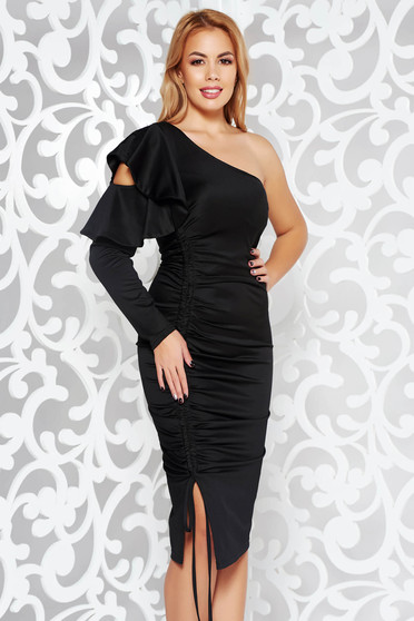 Artista black occasional one shoulder dress with ruffled sleeves