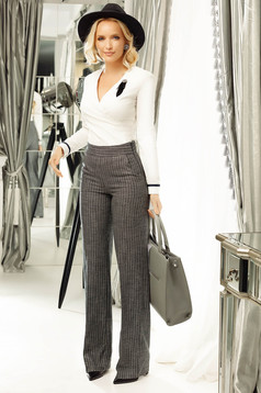 Fofy grey office flared stripes trousers lame thread