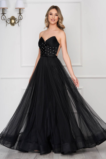 Ana Radu black dress with push-up bra occasional strass