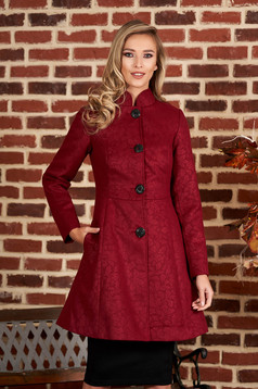 Artista burgundy elegant coat from non elastic fabric with inside lining