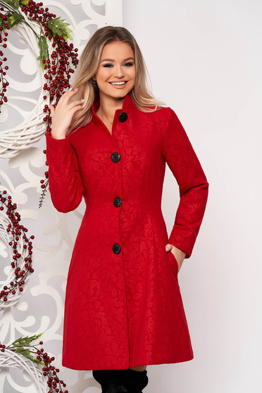 Artista red elegant coat from non elastic fabric with inside lining
