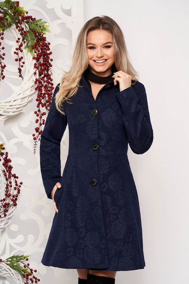 Artista darkblue elegant coat from non elastic fabric with inside lining