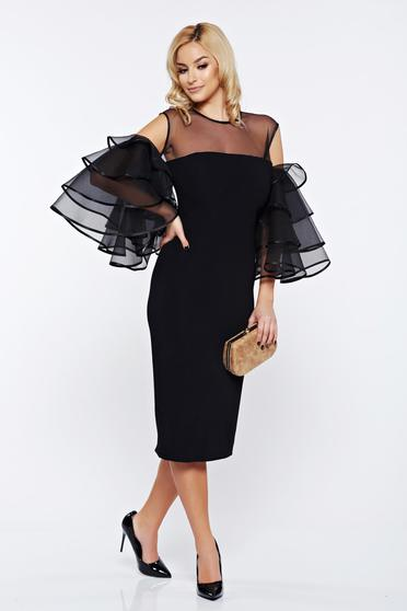 Ana Radu black occasional dress with ruffled sleeves