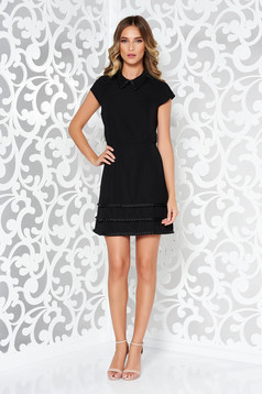 Ana Radu black occasional voile fabric dress with tassels