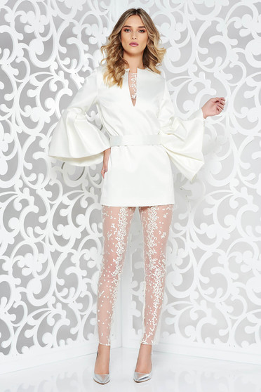 Ana Radu occasional from satin white set with bell sleeve