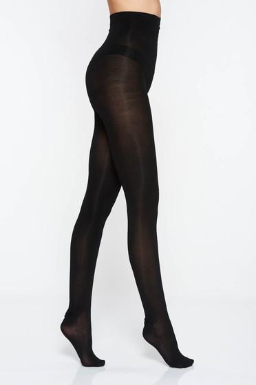 Black elastic cotton 400 den tights with runstop