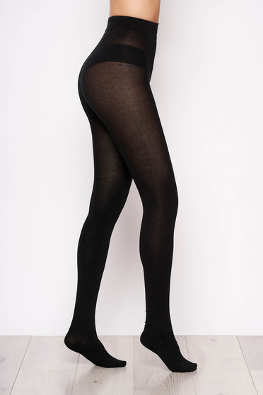 Black elastic cotton 400 den tights with runstop