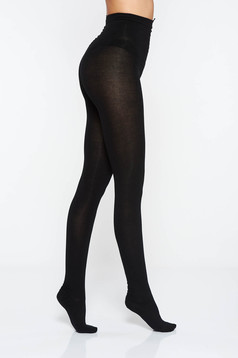 Black 450 den women`s tights with tented cut soft flat seam