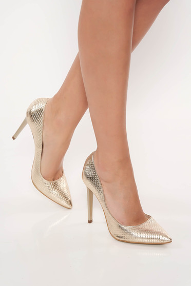 Elegant gold stiletto natural leather shoes with high heels