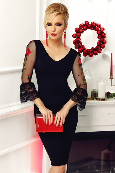 Fofy black occasional embroidered dress with bell sleeve