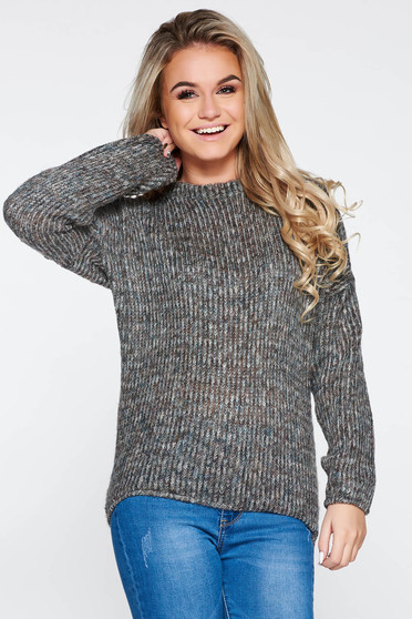 PrettyGirl grey casual flared knitted sweater