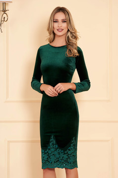 Artista green occasional velvet pencil embroidered dress