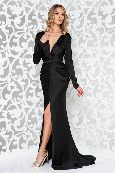 Ana Radu black occasional long sleeved dress accessorized with tied waistband