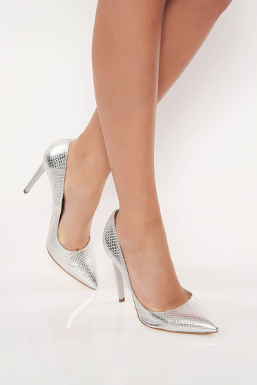 Elegant silver stiletto natural leather shoes with high heels