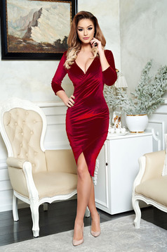 StarShinerS red pencil elegant dress from velvet wrap around