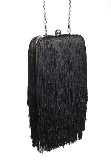 Top Secret black bag clutch elegant with fringes