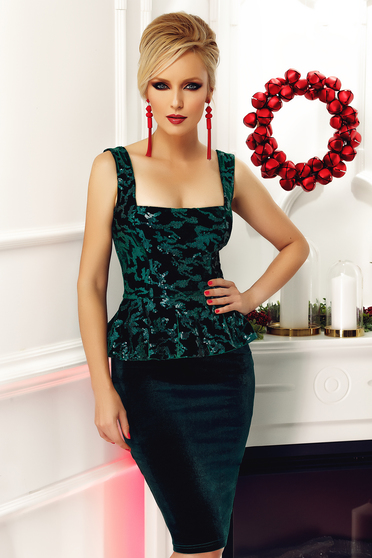 Fofy darkgreen occasional pencil frilled dress with sequin embellished details