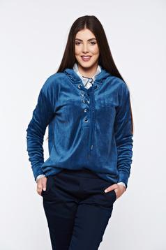 Top Secret blue women`s blouse casual flared velvet