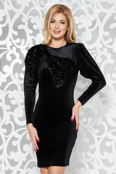 Artista black occasional velvet pencil dress with sequin embellished details