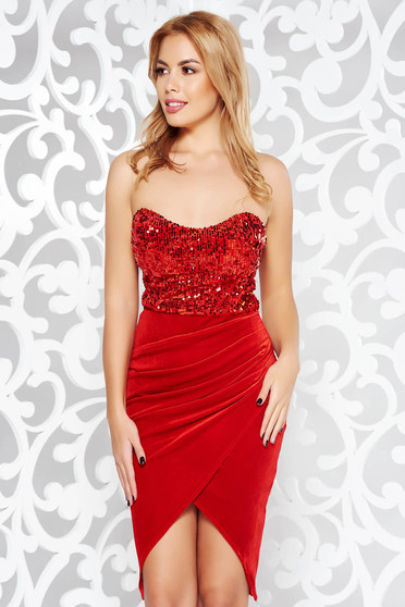 Artista red occasional wrap around off shoulder velvet dress with sequins
