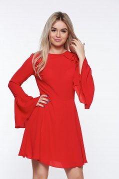 PrettyGirl red dress bare back voile fabric with bell sleeve