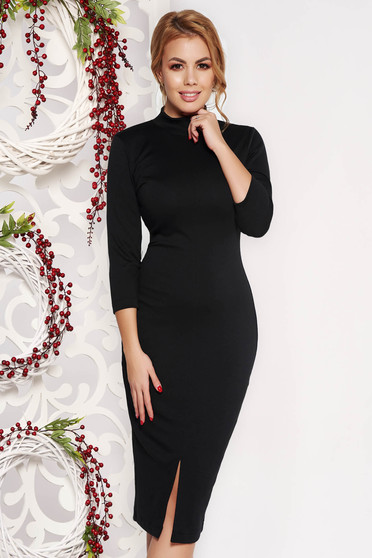 StarShinerS black dress pencil with tented cut office midi scuba with 3/4 sleeves slightly elastic fabric