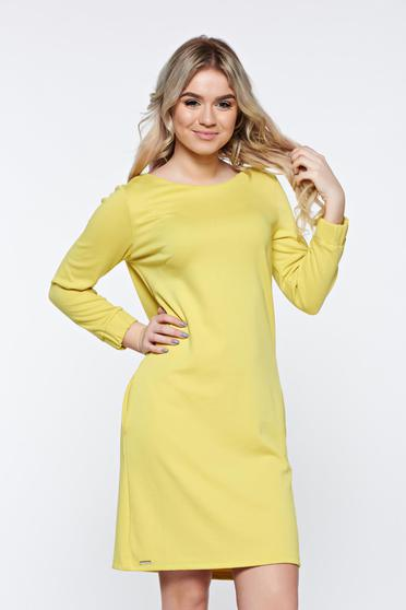 Top Secret yellow dress office with easy cut soft fabric