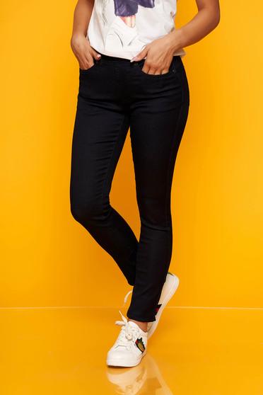 Casual skinny jeans medium waist darkblue jeans with elastic waist