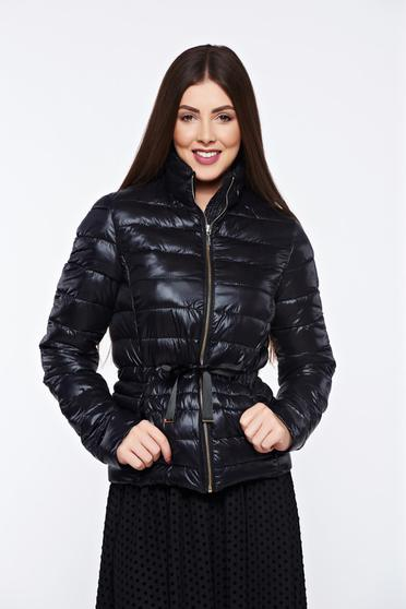 Top Secret black jacket casual from slicker with zipper details pockets