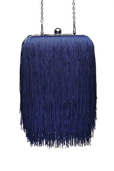 Darkblue bag occasional long chain handle with fringes