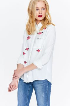 Top Secret white women`s shirt casual flared with pointed collar