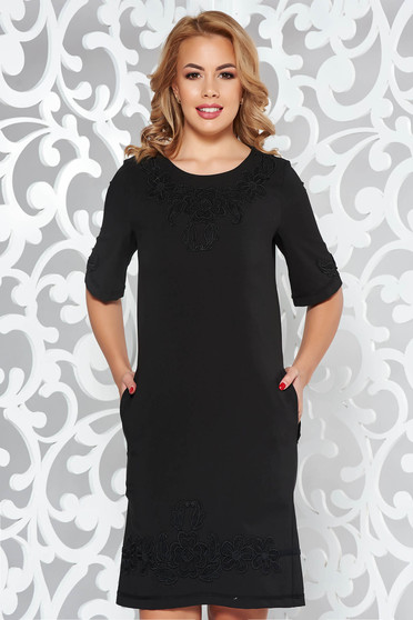 LaDonna black straight dress with pockets with embroidery details elegant slightly elastic fabric