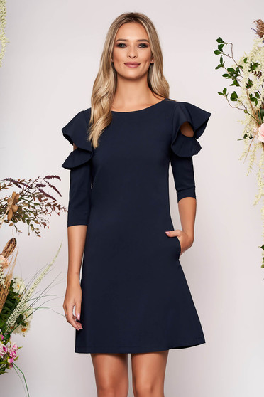 Darkblue daily elegant a-line dress slightly elastic fabric with ruffled sleeves