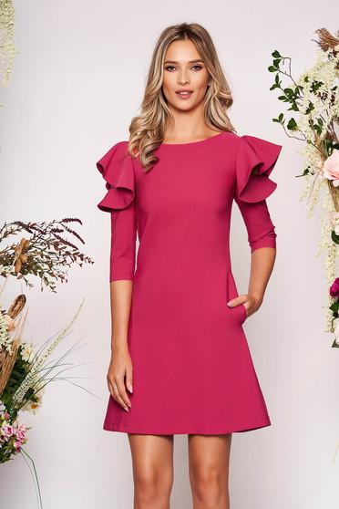 Fuchsia daily elegant a-line dress slightly elastic fabric with ruffled sleeves