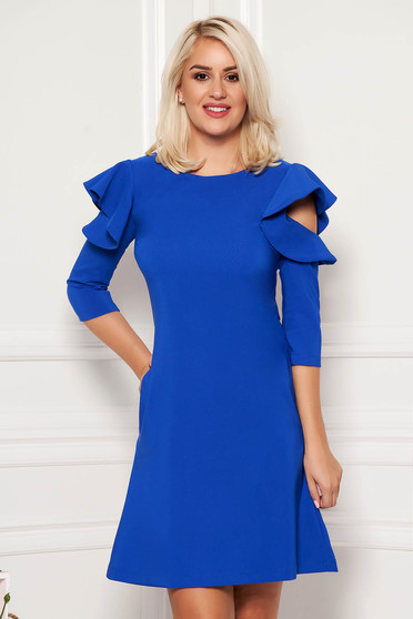 Blue daily elegant a-line dress slightly elastic fabric with ruffled sleeves