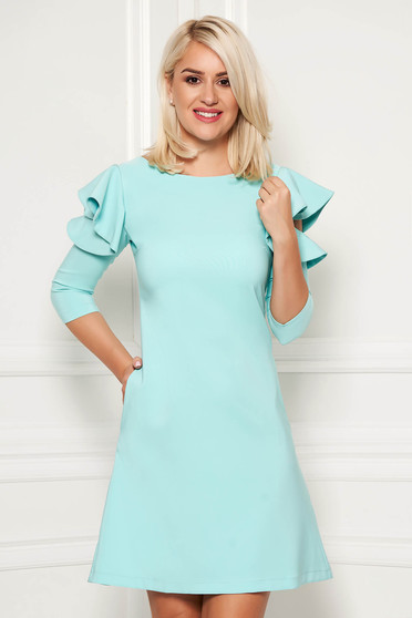 Mint daily elegant a-line dress slightly elastic fabric with ruffled sleeves