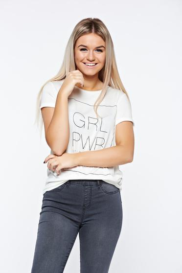 Top Secret white t-shirt casual with easy cut texted
